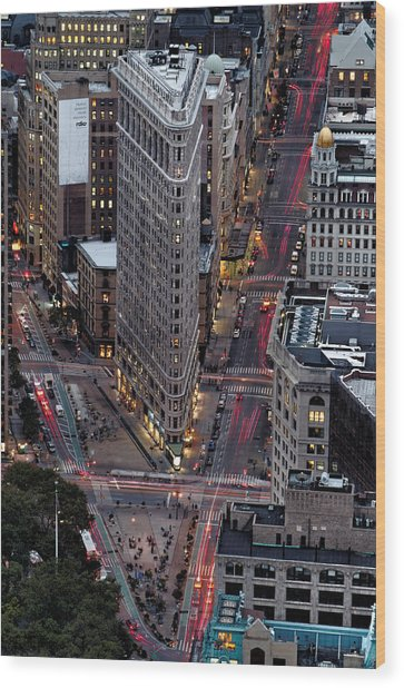 New York City Skyline Flatiron Building Wood Print