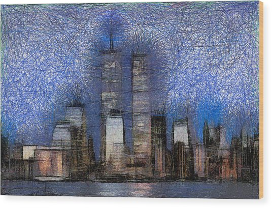New York City Blue And White Skyline Wood Print