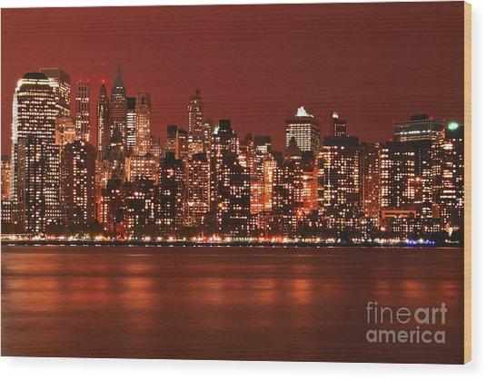 New York City Skyline In Red Wood Print