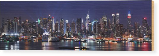 New York City Skyline Panorama Wood Print