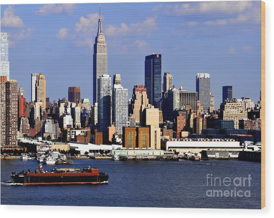 New York City Skyline With Empire State And Red Boat Wood Print
