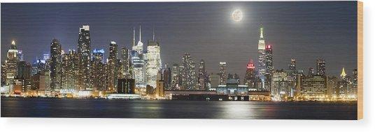 New York City Skyline With Full Moon Wood Print by Zev Steinhardt