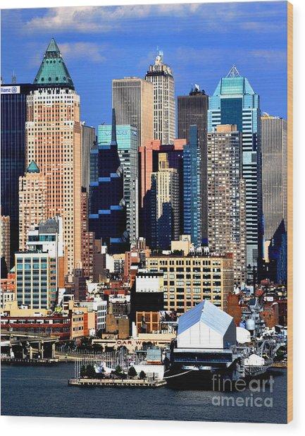 New York City Skyline With One World Wide Plaza Wood Print