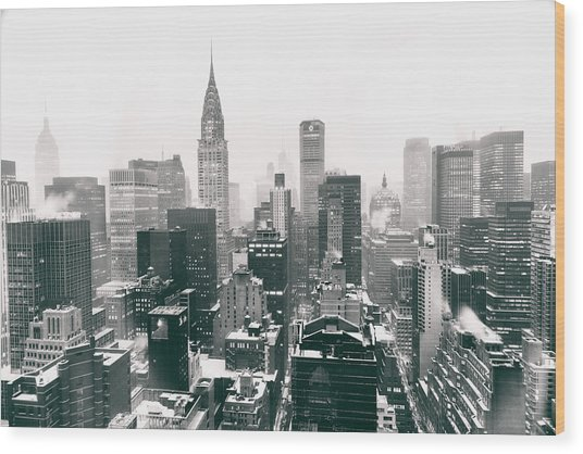New York City - Snow-covered Skyline Wood Print