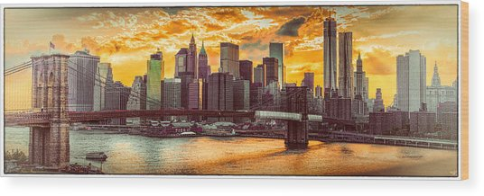 New York City Summer Panorama Wood Print