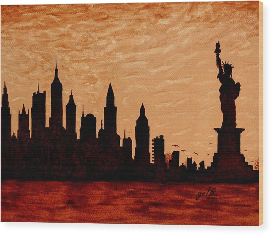 New York City Sunset Silhouette Wood Print