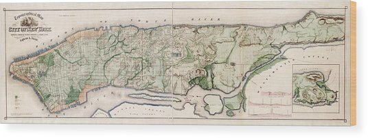 New York City Topography Wood Print by Library Of Congress, Geography And Map Division