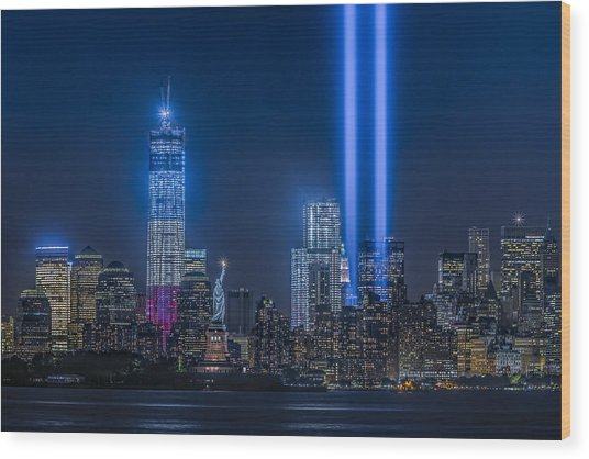 New York City Tribute In Lights Wood Print