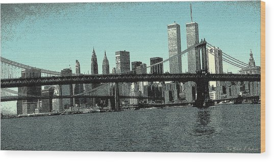 New York Downtown Manhattan Skyline - Blue Panorama Wood Print