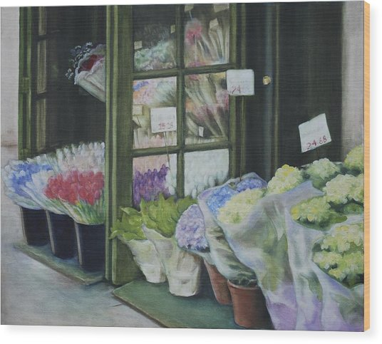 New York Flower Shop Wood Print