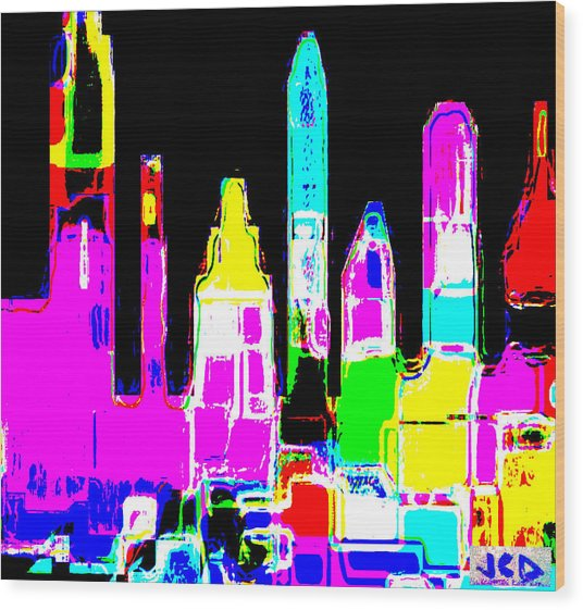 New York Is Rejoicing Wood Print by Jean-Claude Delhaise
