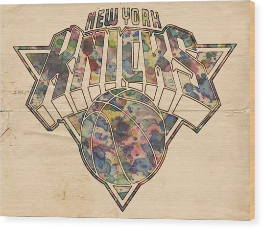 New York Knicks Poster Art Wood Print