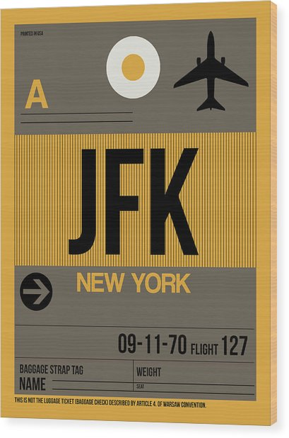 New York Luggage Tag Poster 3 Wood Print