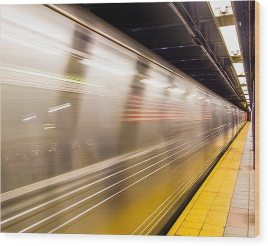 New York Metropolitan Underground Transportation Wood Print