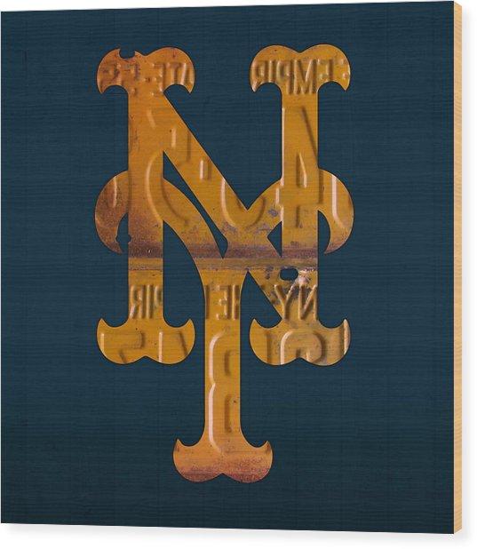 New York Mets Baseball Vintage Logo License Plate Art Wood Print
