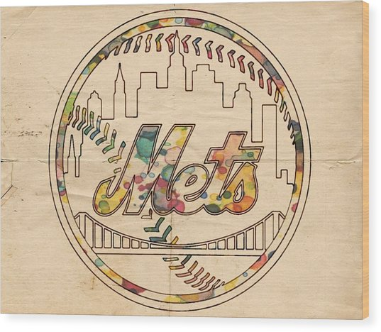 New York Mets Poster Vintage Wood Print