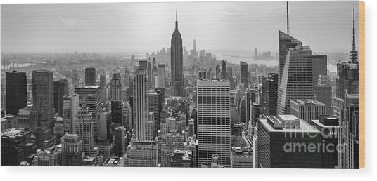 New York Moody Skyline  Wood Print