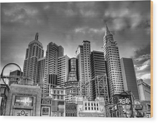 New York New York Black And White Wood Print