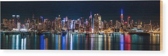 New York Panorama By Night Wood Print