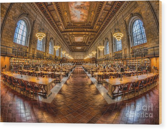 New York Public Library Main Reading Room Vii Wood Print