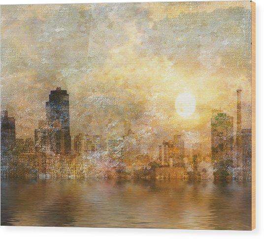 New York River Sunrise Wood Print