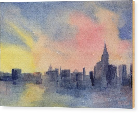 New York Skyline Empire State Building Pink And Yellow Watercolor Painting Of Nyc Wood Print