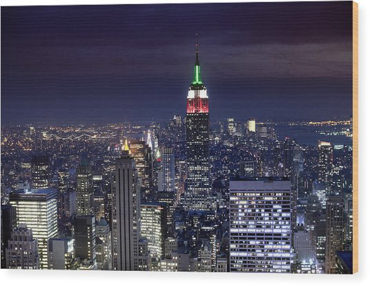 New York Skyline Night Color Wood Print