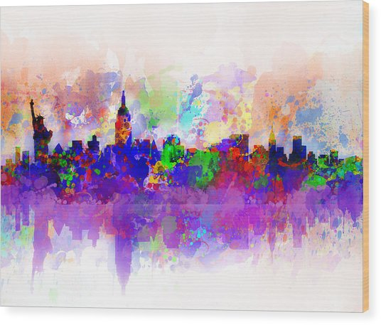 New York Skyline Splats 3 Wood Print