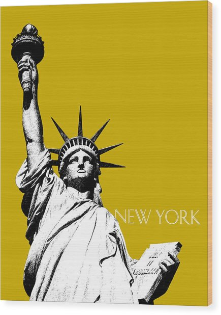 New York Skyline Statue Of Liberty - Gold Wood Print