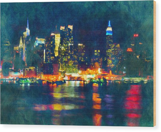 New York State Of Mind Abstract Realism Wood Print
