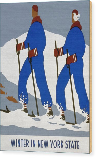 New York State Skiing Poster Wood Print by Charlie Ross