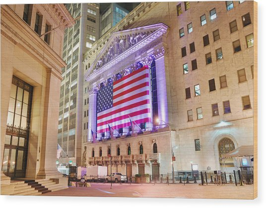 New York Stock Exchange At Night Wood Print