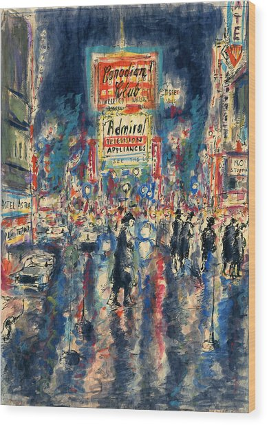 New York Times Square 79 - Watercolor Art Painting Wood Print