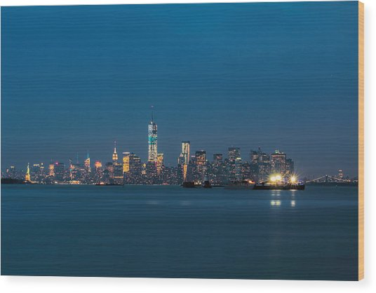 New York Twilight Wood Print