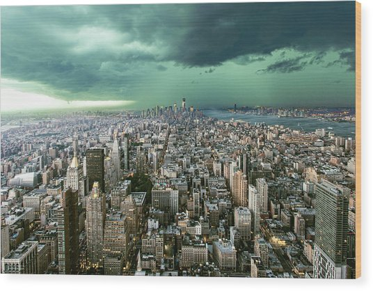 New-york Under Storm Wood Print by Pagniez