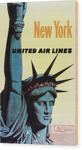 New York United Airlines Wood Print