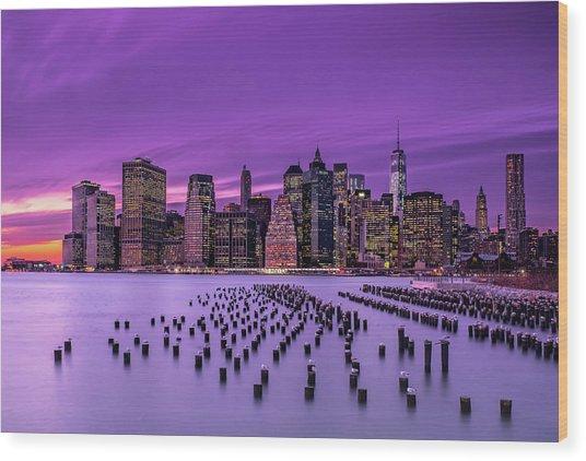 New York Violet Sunset Wood Print by J.g. Damlow