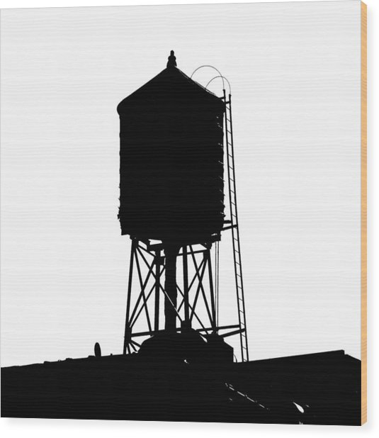 New York Water Tower 17 - Silhouette - Urban Icon Wood Print