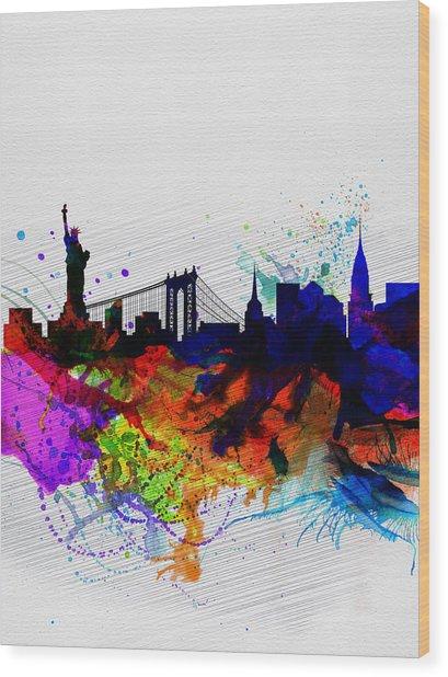 New York  Watercolor Skyline 1 Wood Print
