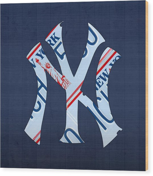 New York Yankees Baseball Team Vintage Logo Recycled Ny License Plate Art Wood Print