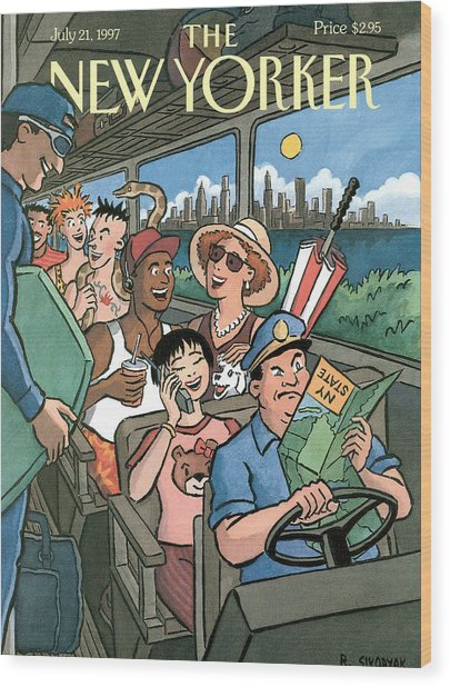 New Yorker Characters Board A City Bus Wood Print