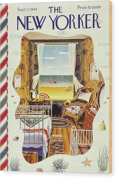 New Yorker Magazine Cover Of A Bedroom By The Sea Wood Print