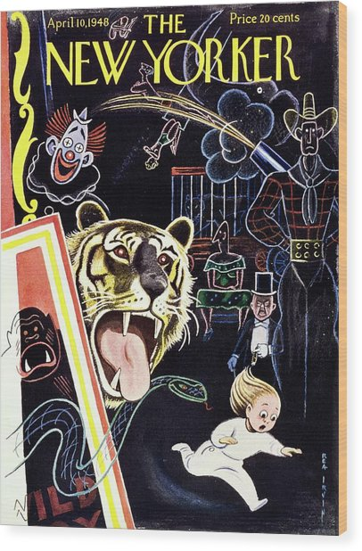 New Yorker Magazine Cover Of A Child Running Wood Print