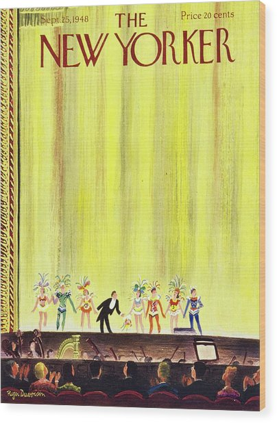 New Yorker Magazine Cover Of A Curtain Call Wood Print by Roger Duvoisin
