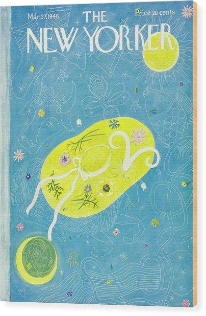 New Yorker Magazine Cover Of A Floral Hat Wood Print by Ilonka Karasz