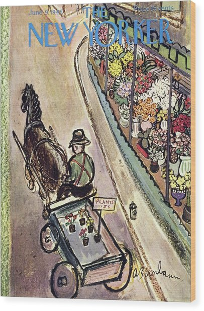 New Yorker Magazine Cover Of A Flower Vendor Wood Print