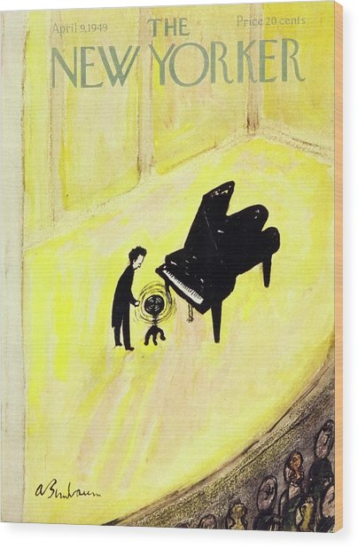 New Yorker Magazine Cover Of A Pianist On Stage Wood Print by Aaron Birnbaum