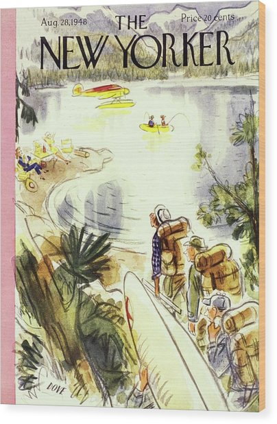 New Yorker Magazine Cover Of Campers Wood Print by Leonard Dove