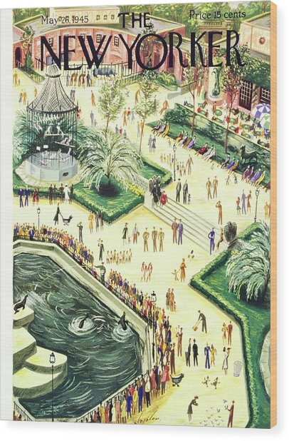 New Yorker Magazine Cover Of Central Park Zoo Wood Print by Constantin Alajalov