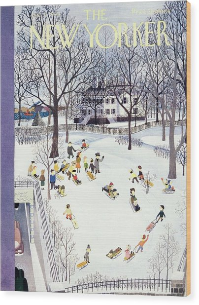 New Yorker Magazine Cover Of Children Sleigh Wood Print